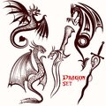 Dragon vector set for tattoo Royalty Free Stock Photo