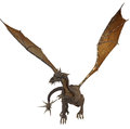 Dragon with wings d render of a western unfolded Stock Images