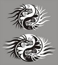 Dragon the yin-jan, symbol of harmony and balance Stock Images