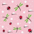 Dragonflies and ladybugs seamless floral pattern Royalty Free Stock Photo