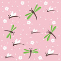 Dragonflies seamless floral pattern Royalty Free Stock Photo