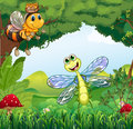 A dragonfly and a bee at the forest illustration of Royalty Free Stock Photo