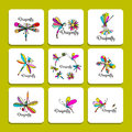 Dragonfly collection, sketch for your design Royalty Free Stock Photo