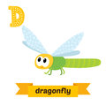 Dragonfly. D letter. Cute children animal alphabet in vector. Fu Royalty Free Stock Photo