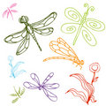 Dragonfly Drawing Set Royalty Free Stock Photography