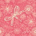 Dragonfly and flowers doodle pattern Royalty Free Stock Photo