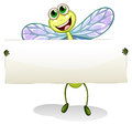 A dragonfly holding an empty banner illustration of on white background Royalty Free Stock Photography