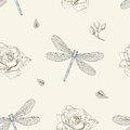 Dragonfly and rose seamless pattern hand drawn dragonflies roses buds vintage engraving style Stock Photo