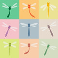 Dragonfly set of icons Royalty Free Stock Photos