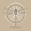 Dragonfly sketch. Invitation card Royalty Free Stock Photo