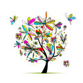 Dragonfly tree, sketch for your design Royalty Free Stock Photo