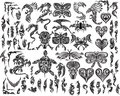 Dragons Butterfly Eagle Tattoo set Stock Images