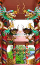 Dragons in chinese temple on columb Royalty Free Stock Photo