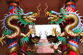 Dragons in chinese temple statue on columb Stock Photos