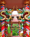 Dragons in chinese temple stucco Royalty Free Stock Image