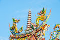 Dragons and gods on the eaves traditional temple eaves sky Stock Photo