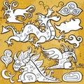 Dragons, icon set Stock Photography