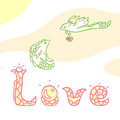 Dragons in love illustration of Royalty Free Stock Image