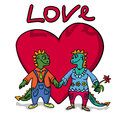 Dragons love two lovers on big red heart background funny picture Stock Photography
