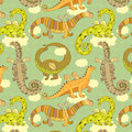 Dragons pattern seamless with cute dragon on a background of clouds on the sky Stock Photo