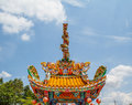 Dragons statue two towers in the sky Royalty Free Stock Images