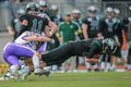 Dragons vs vikings vienna austria april wr johannes prammer is tackled by db andreas lunzer Stock Photos