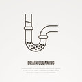 Drain cleaning flat line icon. Outline sign of blocked water pipe. Vector illustration for repair or plumbing service Royalty Free Stock Photo