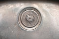 Drain hole a drainage in a metal sink Royalty Free Stock Photo