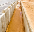 Drainage way concrete roadside drain water used for drainage in Royalty Free Stock Photo
