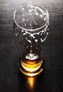 Drained glass fresh lager beer black table Stock Images