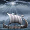 Drakkar illustration with viking ship in the fjord against northern mountain seascape Stock Photo