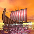 Drakkar or viking ship - 3D render Royalty Free Stock Photo