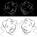 Drama Mask Line Art Set Royalty Free Stock Photography