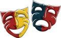 Drama masks cartoon of the theatre Royalty Free Stock Image