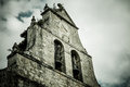 Dramatic ancient church belfry high angle shot of an in burgos spain Royalty Free Stock Images
