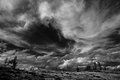 Dramatic black and white heaven with clouds trees on the horizon Royalty Free Stock Images