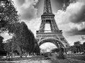 Dramatic Black and White view of Eiffel Tower Royalty Free Stock Image