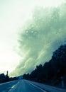 Dramatic cloud bringing torrential rains in majorca in november Stock Photos