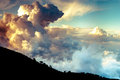 Dramatic clouds over Troodo mountains. Cyprus Royalty Free Stock Photo