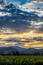 Dramatic clouds at sunset above Napa Valley vineyards Royalty Free Stock Photo