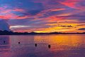 Dramatic cloudy sunset on a tropical island, Philippines. Royalty Free Stock Photo