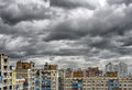Dramatic cumulonimbus stormy clouds over cityscape kiev ukraine Royalty Free Stock Photos