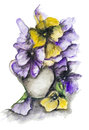 Dramatic dark bouquet tragic of violet and yellow pansies handmade watercolor painting art illustration on a white paper Royalty Free Stock Photography