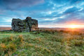 Dramatic dartmoor sunset beautiful over south hessary tor just outside of princetown on national park in devon Stock Image