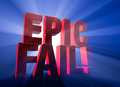 Dramatic epic fail viewed at a angle a bold red stands on a dark blue background brilliantly backlit with light rays shining Stock Photography