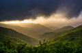 Dramatic evening view of the Blue Ridge Mountains from the Blue Royalty Free Stock Photo