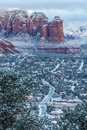 Dramatic image of Sedona at dawn after overnight snowfall Royalty Free Stock Photo