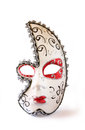 Dramatic and mysterious half moon carnival mask isolated on white Royalty Free Stock Photo