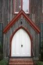 Dramatic oak wooden church doors Royalty Free Stock Photo