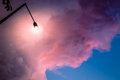 Dramatic purple sky and lamppost Royalty Free Stock Photo